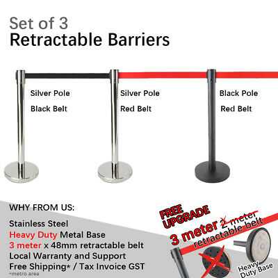 3x Queue Barriers 3 meter Retractable belt Heavy duty Base Stainless steel