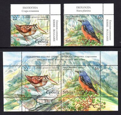 Serbia 2009 Birds Set 2 + M/S MNH