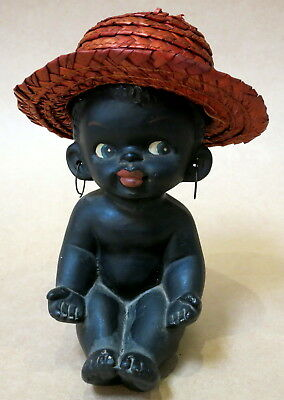 Cheeky Black Barsony Baby With Earrings & Straw Hat