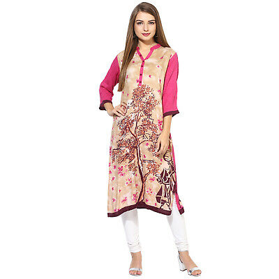 Indian Bollywood Designer New Stylish Printed Rayon Kurta Kurti Women Ethnic