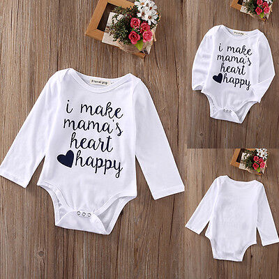Newborn Infant Kids Baby Boy Girl Tops Romper Bodysuit Jumpsuit Clothes Outfits