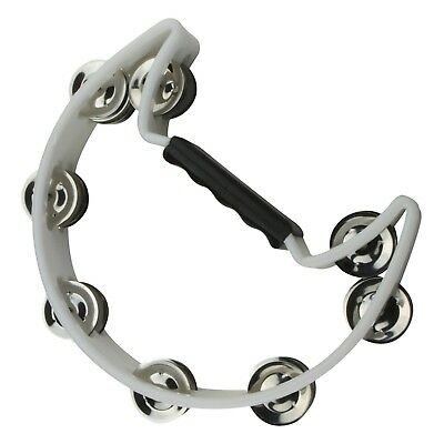 NEW Drumfire Half Moon Tambourine Kids Percussion Rhythm Toy Single Row (White)
