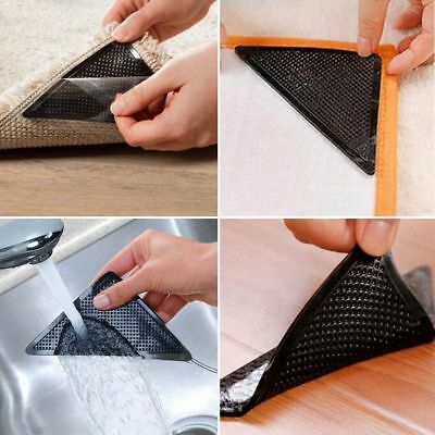 AU 8PCS/Set Ruggies Rug Carpet Grippers Reusable Triangle Pads Hot