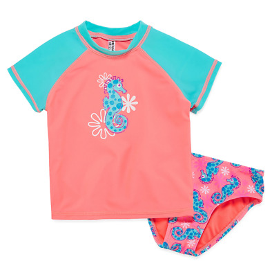 Breaking Waves My Little Sea Pony Solid Rash Guard Set Toddler Size 2T New