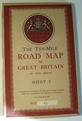 Ordnance Survey Road Map Of Great Britain. Sheet 2. 1946.