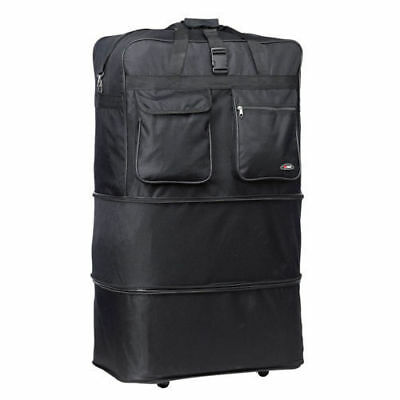 Black 30 Inches Expandable Rolling Duffle Bag Wheeled Spinner Suitcase Luggage