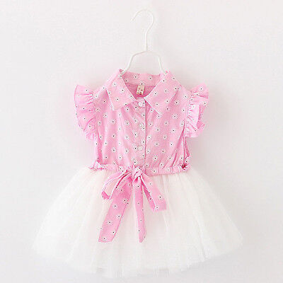 Baby Girl Clothes Kids Toddler Flower Party Princess Dresses Tutu Summer Tops