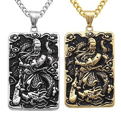 2pcs Stainless Steel Guan YU Amulet Charms Necklace Dog Tag Unisex Talisman
