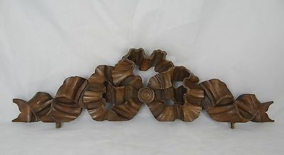 "19""x 5"" Antique French Pediment Architectural Crown Walnut Large Ribbon LouisXVI"