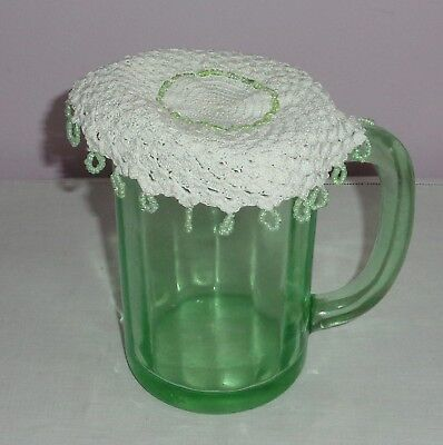 Vintage/antique Beaded/bead Crochet Milk Jug Cover Small Green Glass Beads