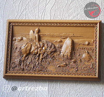 """3D Decor Picture Knight at the Crossroads carved in hard wood Excellent (10""""x6"""")"""
