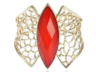 Womens Gold Tone Red Gemstone Honeycomb Bangle Bracelet Chic Jewelry Gift Party