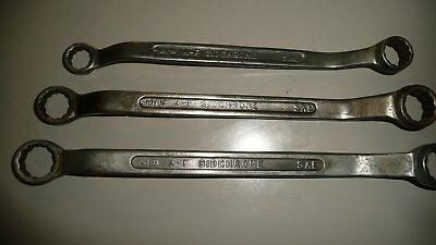 """3 Vintage Sidchrome SAE Imperial Ring Spanners, Range 5/8 - 7/8"""""""