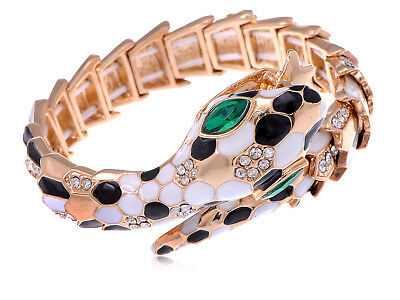 Egyptian Style Golden Toned Coiling Snake Bangle With Rhinestone Accenting Cuff