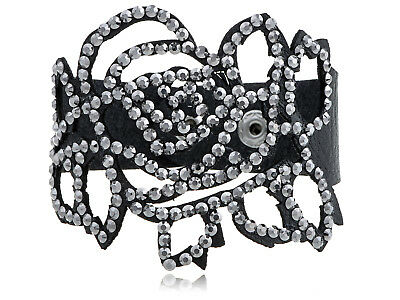 Black Roses Silvery Colored Crystal Rhinestone Element Bracelet Jewelry Cuff New