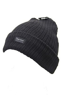 New Unisex Mens Womens Thermal Insulation Winter Black Hat Beanie Knitted Chunky