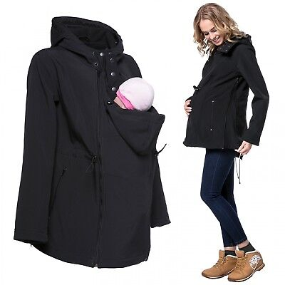 Happy Mama Women's Maternity Softshell Jacket Hood Carrier Removable Insert 447p