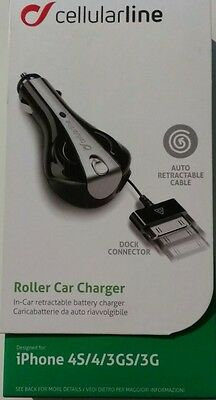 chargeur iphone 4S/4/3GS/3G voiture auto retractable cellularline ipod/ipad