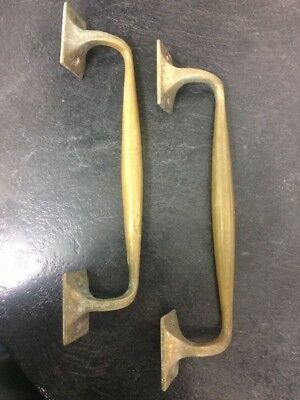 Large pair  old antique SOLID  brass door pull handle