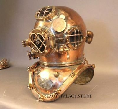 Royal Us Navy Mark V Heavy Model Solid Copper Brass Diving Divers Helmet Antique