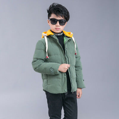 Winter Kids Boys Girls Down Snowsuit Hooded Warm Quilted Puffer Coat Jacket Chic