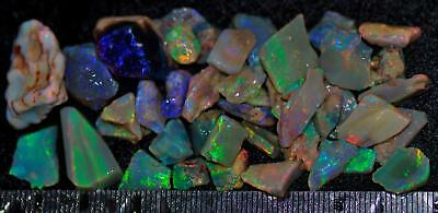 100 Carats Of Solid Quality Lightning Ridge Rough Rubbed Black Opal Parcel 89