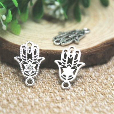 SC3303 10 Hamsa Hand Charms Antique Silver Tone 2 Sided Two Hearts