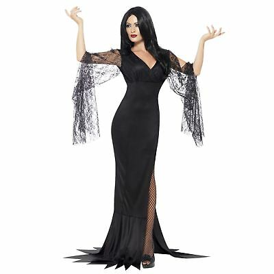 Adult Ladies Gothic Morticia Addams Vampiress Immortal Souls Halloween Costume