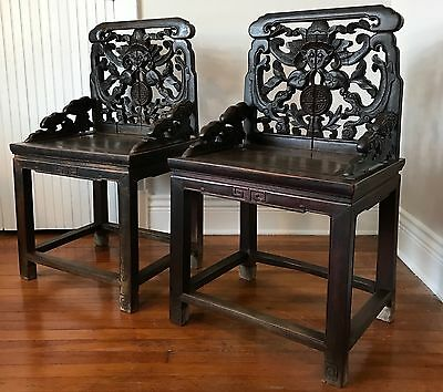 Pair of 18th Century Qing Jumu Hand Carved Chairs