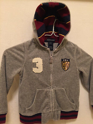 Ralph Lauren Gray Zip Front Hooded Sweater Cardigan 4 4T