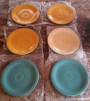 6 VINTAGE Homer Laughlin Fiesta Ware HLC Dinner Plates Yellow Turquoise Ivory