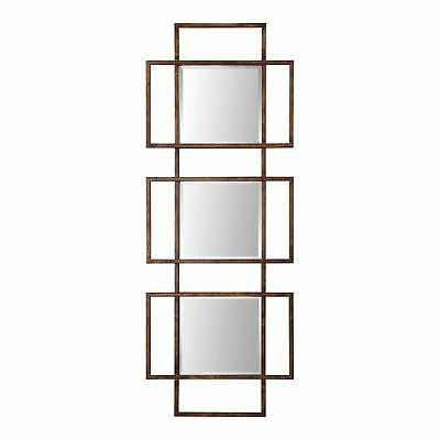 """Large Rust Bronze Mirrored Squares Wall Art 