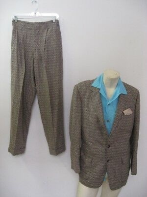 Vintage 1950s Gray Fleck Patch Pocket Wool Suit PENNEY'S Size 40