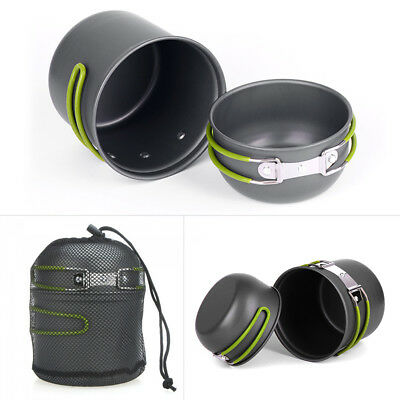 Portable Outdoor Cookware Camping Picnics Cooking Nonstick Bowl Pans Pots Set UK
