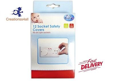 New First Steps Socket Plug Covers 12 Pack Baby/Child Guards Electrical Safety