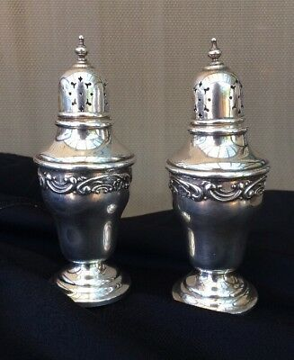 Gorham Rose & scroll Pattern Sterling Salt & Pepper Shakers 1238