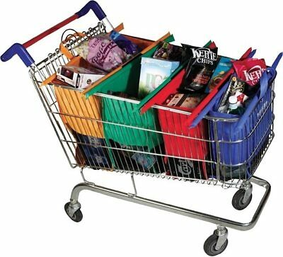 Set of 4 NEW Reusable Shopping Bags Trolley Bags Eco-Friendly Grocery Cart Ca...