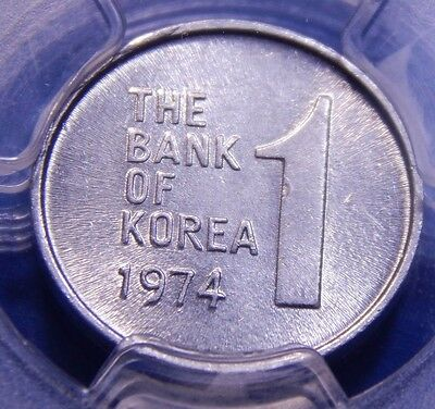 *Finest, Key date* South Korea 1974 1 Won PCGS MS 64 Nice Coin!