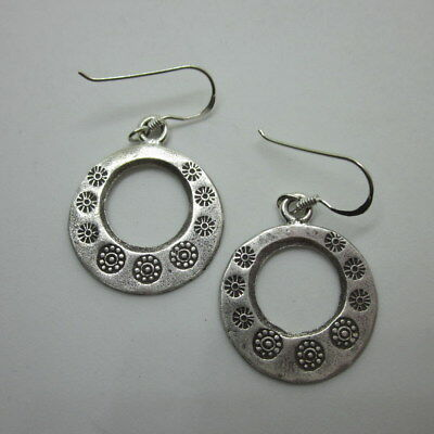Earrings Hill Tribe Fine Silver Hand Craft Round Asian Flower Engraved er003