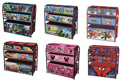 Character Toy Organiser Kids Bedroom Storage Metal Frame Multi Bin Playroom Box