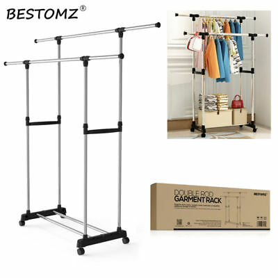 BESTOMZ HEAVY DUTY Retractable Drying Rack Clothes Laundry Hanger For Home