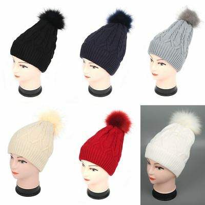 af97ff0cd00 Womens Ladies Warm Lined Knitted Fur Pom Pom Beanie Bobble Ski Hat Slouch  Cap UK
