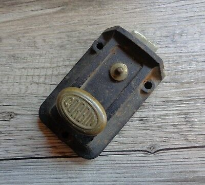 Vtg Corbin Cast Iron Dead Bolt Door Lock Brass Knob for Restoration Repurpose