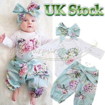 Newborn Baby Girl Floral Clothes Jumpsuit Romper Bodysuit Pants Headband Outfits