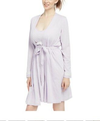 Maternity Oh Baby! By Motherhood Lace Nursing Lilac Gown & Robe Set NWT Size L
