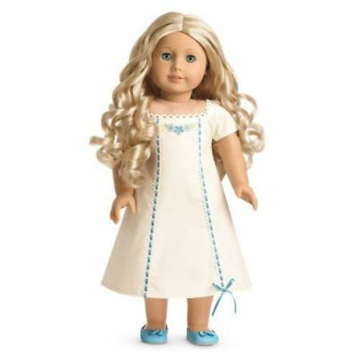 AMERICAN GIRL CAROLINE Retired EMBROIDERED WHITE NIGHTGOWN and SLIPPERS NEW!