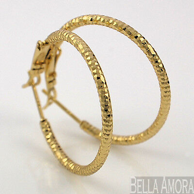 0525ce80fdcf0 9CT YELLOW GOLD Filled Rolled Pattern Textured Hoop Earrings 23mm UK ...