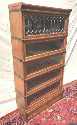 5 Section Globe Wernicke Oak Barrister Book Case With Leaded Glass Door