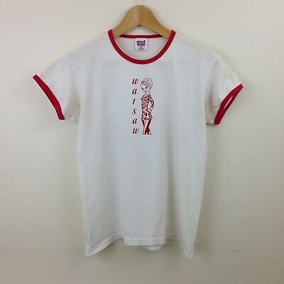 Vintage 80s Warsaw Ringer T-Shirt - Size Medium - Made in USA