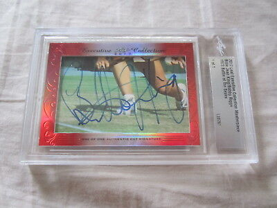 Billie Jean King & Bobby Riggs 2017 Leaf Cut Signature 1/1 auto Battle of Sexes